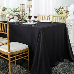 Tablecloth Black Reusable Washable Soft Plastic Rectangle Table Cover Cloth Long
