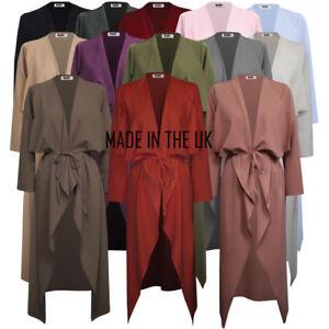 UK Womens-Ladies-Maxi-Long-Sleeve-Waterfall-Belted-Duster Jacket Coat S/M-XXL