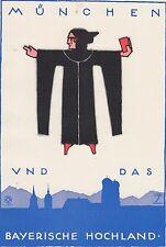 Ludwig Hohlwein - Farbige Werbegraphik 20er Jahre - Motiv München + bay Hochland