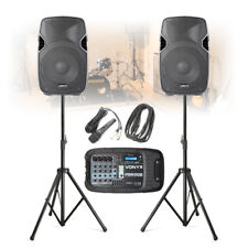 Portable Bluetooth PA Rehearsal Speaker System with Stands, Mixer & Microphone