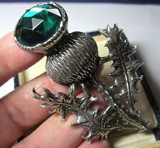 New By Miracle Large Pewter Scottish Thistle Faux Emerald Highlander Kilt Pin