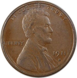 1911-S United States Lincoln Wheat One Cent - VF Very Fine Condition
