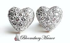 Cartier 1.0tcw Pave Set Diamond Heart Earrings in 18k White Gold, with box