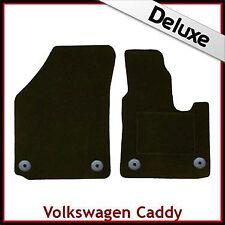 VW Caddy Mk3 2004 onwards Round Clips Tailored LUXURY 1300g Carpet Mats BLACK