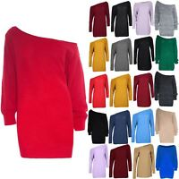 Ladies Womens Off Shoulder Chunky Knit Oversized Baggy Tunic Jumper Mini Dress