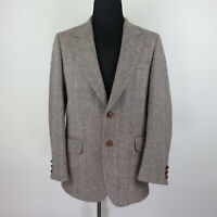 Harris Tweed Tan Handwoven Scottish Wool Leather Button Sport Coat - Men's