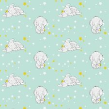 """Disney Dumbo Starry Elephants and stars 100% cotton Fabric Remnant 43"""" X 30"""""""