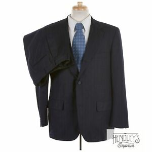 Vintage 80s Mens BROOKS BROTHERS Suit 41 R Navy Blue Chalkstripe Wool Flannel