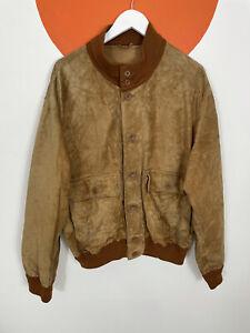 Men's Vintage Suede Bomber Western Jacket Coat Light Brown Beige UK Size L Large