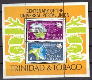 TRINIDAD & TOBAGO 1974 MNH UPU CENTENNIAL SOUVENIR SHEET