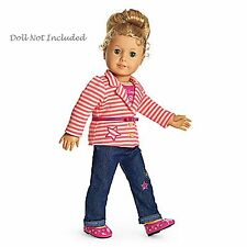 """American Girl MY AG BRIGHT STRIPES OUTFIT for 18"""" Dolls Jacket Jeans NEW Retired"""