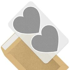 2 x Heart Stickers 7.5 cm - Grey White Polka Dots Pattern Cute  #45252