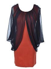 Women S/M Fit Orange Slim Body Con Dress with Sheer Black Cape Drape Sleeves