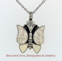 "White Butterfly Cremation Jewelry Pendant Urn Keepsake With 20"" Necklace"