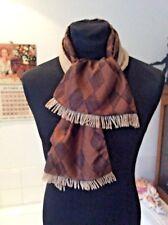 vintage wool backed satin fifties print scarf- brown/ mocha ~ mod wear