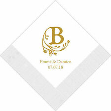 500 Modern Fairy Tale Initial Personalized Wedding Luncheon Napkins
