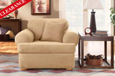 Sure Fit Chair Slipcover Stretch Suede Camel Separate T Style Seat Cushion