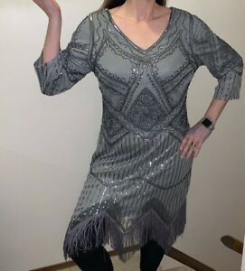 Unique Vintage Silver Flapper Dress Sequin Beaded Fringe Skirt Ladies XL Gray