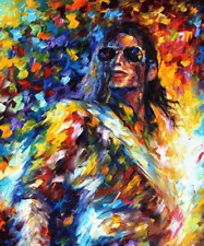"""Micheal Jackson Abstract Oil Style Wall Art Canvas Print 22"""" X 16"""" solid frame"""