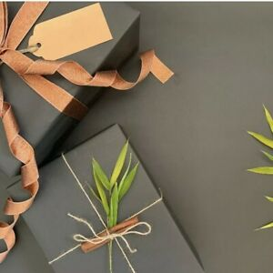 2-120M Black KRAFT 100% Recycled & Recyclable Eco Birthday Gift Wrapping Paper