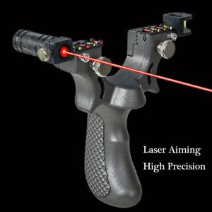 Profi Jagd Katapult Steinschleuder Slingshot 2pcs Gummiband Laser Sportschleuder