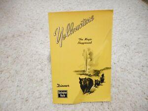 MENU BURLINGTON ROUTE DINNER YELLOWSTONE THE MAGIC PLAYGROUND 1930'S?