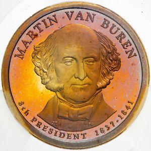 2008-S PRESIDENTIAL DOLLAR MARTIN VAN BUREN ICG PR69 DCAM COLOR UNC TONED