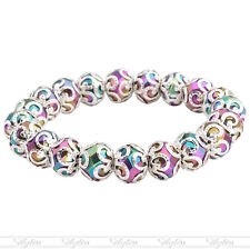 "10mm Crystal Glass Colourful Bead Flower Wrap Stretchy Bangle Bracelet 6""L Women"