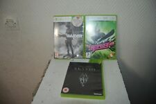 LOT 3 JEUX VIDEO  XBOX 360 SKYRIM +  TOMB RAIDER + AMPED 3 BOITE ET NOTICE