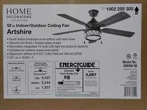 Artshire 52 in. Integrated LED Indoor/Outdoor Natural Iron Ceiling Fan by HDC