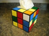 TISSUE BOX COVER - RUBIKS CUBE - Plastic Canvas