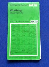 Ordnance Survey 1:25000 Second Series cloth map Worthing Sheet TQ 00/10 1979