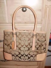 "COACH H2J-6089  Jacquard Signature ""C"" satchel purse handbag"