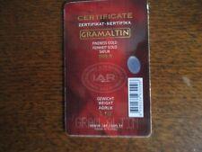 1 g Goldbarren im Blister mit Zertifikat und Seriennummer