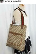 Vintage Gucci Tote Shopper Bag  GG Monogram stripe Authentic 80s Excellent Vinyl