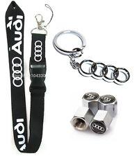 Audi Lanyard Set + Metal Keychain + Stem Valve Caps - A4 A5 A6 A7 A8 S4 S3 A3