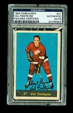 Val Fonteyne Autographed 1960 Parkhurst Hockey Card #21 Red Wing PSA/DNA Encased