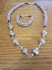 kumihimo silver bead and glass necklace set (pink)