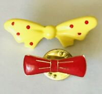 Bowties Yellow And Red Small Lapel Pin Badge Rare Vintage (H3)