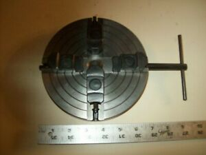 """6 1/2"""" Diameter  4 Jaw Independent Chuck 3/4"""" Bore 16 TPI  Key  From Wood Lathe"""