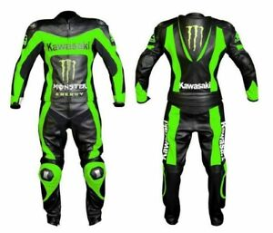 Customized Kawasaki Motorbike Racing Biker Motorcycle Leather 1 and 2 Piece Suit