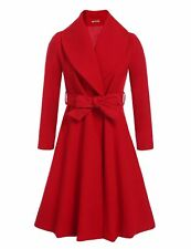 HOTOUCH Women's Notched Lapel Button Closure Worsted Long Trench Coat Red Large