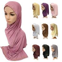 Muslim Women One Piece Hijab Islamic Hot Drilling Long Scarf Amira Headscarf