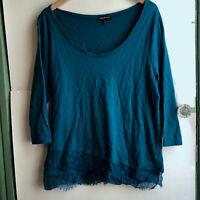 LANE BRYANT Plus Size Teal Blue 3/4 Sleeve Tiered Lace Trim Scoop Neck 14 16 1X