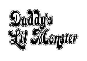 Harley Quinn 'Daddy's Lil Monster' Vinyl Sticker BLACK GLOSS 8 x 13.5 cm