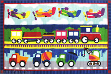"3x5  Kids Educational Rug Train Truck  Airplane Play Children   3'3"" x4'10""  New"