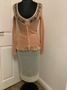 Dolce & Gabbana tulle mesh skirt + plunge embellished top blouse dress UK8US4