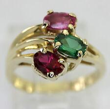 rubí verde spinel rubelita anillo 14K amarillo oro 3 Óvalos 1.35 CT sz 6