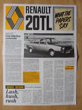 RENAULT 20 TL NEWS 1976 UK Mkt Large Format Sales Brochure