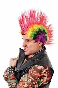 Punk Mohican Rocker Wig Fancy Dress Costume Rainbow Multicoloured Mohawk